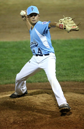HADLEY GREEN/Staff photo<br /> Peabody's Carson Browne (14) pitches at the Peabody West Little League all-stars' game vs. Gloucester at the Reinfuss Field in Lynn. 7/19/17