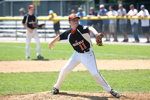 HADLEY GREEN/ Staff photo<br /> Ryder Frost (11) pitches for Beverly at the Beverly v. Hamilton-Wenham little league playoff game at the Harry Ball Field in Beverly. 7/08/17