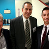 HADLEY GREEN/Staff photo<br /> From left, Paul Earl of the iHope network, State Representative Jerry Parisella, and Kevin Harutunian, chief of staff for Beverly Mayor Mike Cahill, attend the North Shore InnoVentures ribbon cutting ceremony at the company's new space in the Cummings Center in Beverly. 7/27/17