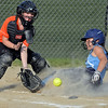 RYAN HUTTON/ Staff photo<br /> Peabody's Isabel Bettencourt slides safely into home to score in the bottom of the third inning of Thursday's game against Woburn at the Lt. Ross Park.
