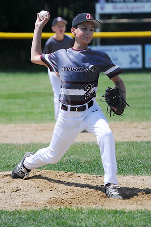 TIM JEAN/Staff photo<br /> Gloucester's Drew Macchi throws a pitch against Beverly to close out the game for the save during the District 15 Williamsport Little League Baseball Tournament game. Gloucester defeated Beverly 10-8. 7/1/17