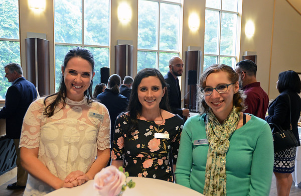 RYAN HUTTON/ Staff photo<br /> From left, Victoria Patterson, Jennifer Pollio, and Delia Day, all with the Wylie Inn, at the North Shore Chamber of Commerce's After Hours event at the Wylie Inn and Conference Center on Thursday.