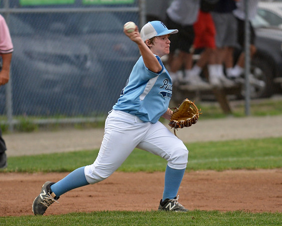 RYAN HUTTON/ Staff photo<br /> Peabody's Ryan Brunet throws the ball to second to try to make the out during the top of the first inning of Saturday night's Section 4 Little League championship against Gloucester at Wyoma Field.