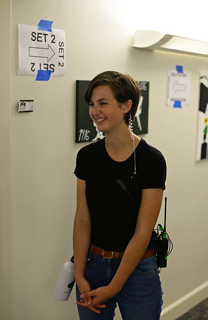 """RYAN HUTTON/ Staff photo<br /> The Academy at Penguin Hall senior Emma Fringuelli, 17, works as a production intern of the set of """"Selah and the Spades"""", a feature film being shot on the school campus in Wenham on Wednesday."""