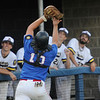 TIM JEAN/Staff photo<br /> <br /> Middleton/Peabody's catcher Trevor Lodi makes a running catch for the out against Andover during an American Legion baseball game. Andover defeated Middleton/Peabody 1-0.  7/23/18