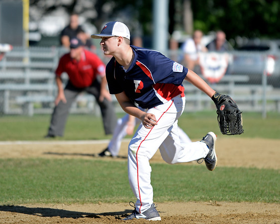 RYAN HUTTON/ Staff photo<br /> Peabody West's Nick Villano fires one in in the top of the second inning of Wednesday's Little League tournament game against Danvers in Andover.