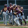 HADLEY GREEN/Staff photo<br /> Danvers National Little League all-star players cheer after Steve Reardon (15) scores against Amesbury in the District 15 championship game at Harry Ball Field in Beverly. <br /> <br /> 07/13/2018