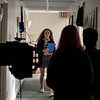 RYAN HUTTON/ Staff photo<br /> Margo Tsouvalas, 14, an incoming freshman at the Academy at Penguin Hall in Wenham, walks down one of the school's hallways during a camera check while acting as an extra during the filming of a movie at the school on Wednesday.