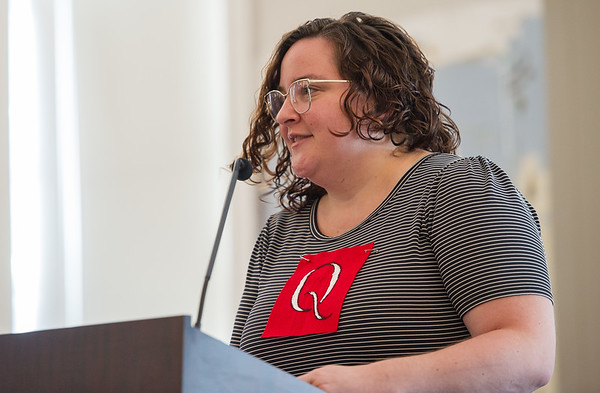 AMANDA SABGA/Staff photo<br /> <br /> New Salem resident Amanda Miklik reads during a marathon reading of Nathaniel Hawthorne's The Scarlet Letter at St. Joseph Hall in Salem, hosted by the House of the Seven Gables and the National Parks Service.<br /> <br /> 7/7/18