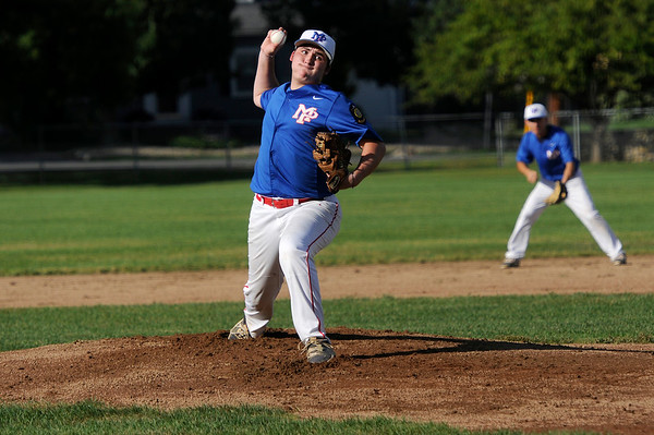 TIM JEAN/Staff photo<br /> <br /> Middleton/Peabody's Eddie Campbell throws a pitch against Andover during an American Legion baseball game. Andover defeated Middleton/Peabody 1-0.  7/23/18