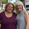 HADLEY GREEN/Staff photo<br /> From left, Kim Woods and Therese Melden stand in downtown Beverly. The two have created a new voter information group called We are America the Beautiful. <br /> <br /> 07/24/2018