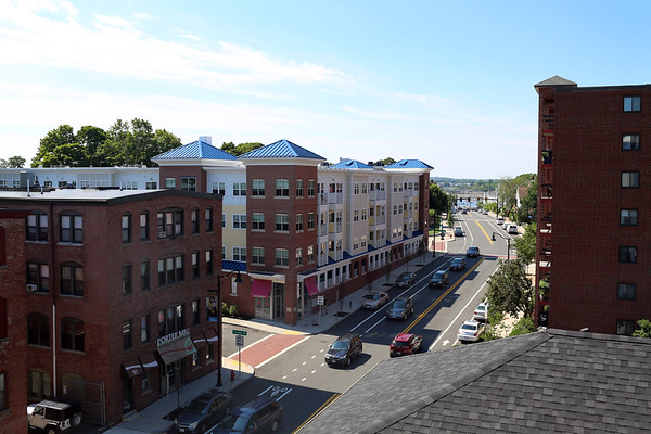 HADLEY GREEN/Staff photo<br /> The new Holmes Beverly apartment complex on Rantoul Street offers views of downtown Beverly and the Beverly Harbor. <br /> <br /> 07/18/2018