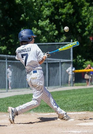 AMANDA SABGA/Staff photo<br /> <br /> Hamilton-Wenham's Gian Gamelli (7) at bat during a game against Danvers National at the Harry Ball Field in Beverly.<br /> <br /> 7/7/18