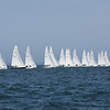 HADLEY GREEN/Staff photo<br /> Rhodes 19 boats line up to race at the Helly Hansen NOOD Regatta at Marblehead Race Week. <br /> <br /> 07/27/2018