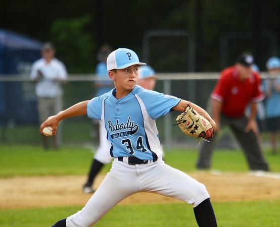 CARL RUSSO/Staff photo. Peabody's starting pitcher, Noah Crocker.  Peabody vs. Woburn in Little League baseball action. 7/19/2019