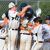 CARL RUSSO/Staff photo Hamilton players celebrate Gian Gamelli's home run late in the game. North Andover defeated Hamilton- Wenham 8-5 in Little League sectional baseball action. 7/19/2019