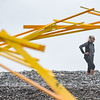 Artists constructing and deconstructing 100-foot wooden sculpture in Marblehead