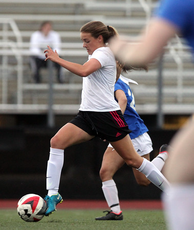 DAVID LE/Staff photo. Hamilton-Wenham's Maddy Berthoud streaks upfield on a partial breakaway against the North while playing for the South squad in the annual Agganis Girls Soccer game at Manning Field in Lynn. 6/28/16.