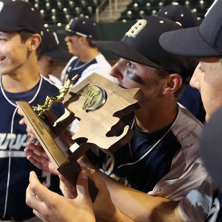 DAVID LE/Staff photo. Danvers senior captain Andrew Olszak kisses the D2 North trophy after he earned the victory in the Falcons 9-4 win over Reading. 6/11/16.