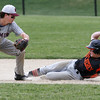 KEN YUSZKUS/Staff photo.     Beverly's Spencer Brown slides safely into 2nd base on a steal with Belmont's Steve Rizzuto waiting during the Belmont at Beverly baseball state tournament game.     06/02/16