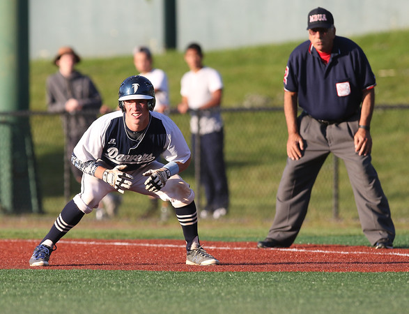 DAVID LE/Staff photo. Danvers' Matt Andreas looks to get a jump to second base during the Falcons' Div. 2 State Final game against Dighton-Rehobeth	 at Fraser Field in Lynn.