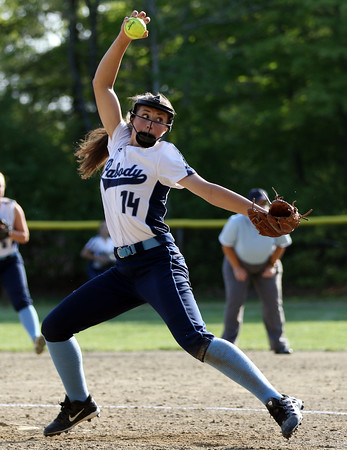 DAVID LE/Staff photo. Peabody pitcher Alyssa Dawe fires a pitch against Beverly on Wednesday afternoon. 5/25/16.
