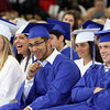 DAVID LE/Staff photo. Swampscott High School graduates laugh while listening to English teacher Peter Franklin give his Faculty Address and charge to the graduates of the Class of 2016. 6/5/16.
