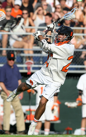 DAVID LE/Staff photo. Beverly senior Keegan Kolbert (23) lines up a shot on net against Melrose in the D2 North semifinal on Tuesday afternoon. 6/7/16.