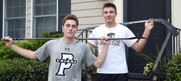 DAVID LE/Staff photo. Twins Kyle, left, and Matt Koopman, are entering their senior seasons at Berkshire School and have both committed to play Division I hockey at Providence College. 6/8/16.