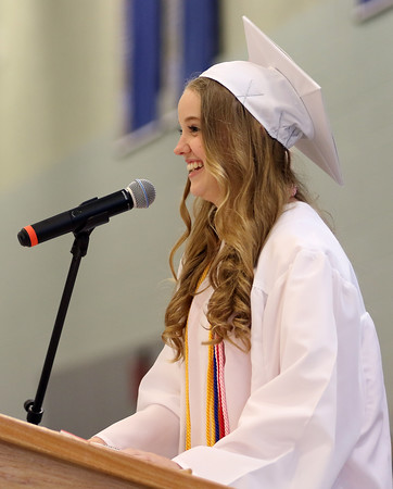 """DAVID LE/Staff photo. Danvers Salutatorian Alexis Gilchrist delivers her address """"Measuring Our Success"""" at graduation on Saturday afternoon. 6/11/16."""