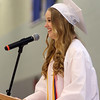"DAVID LE/Staff photo. Danvers Salutatorian Alexis Gilchrist delivers her address ""Measuring Our Success"" at graduation on Saturday afternoon. 6/11/16."