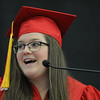 PAUL BILODEAU/Staff photo. Saltutatorian Kaitlin Copelas  delivering her speech  during Salem High School's graduation ceremony in the high school's field house.