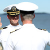 DAVID LE/Staff photo. Dr. Douglas Peterson gets sworn in by Fred Kelley, as Peterson was promoted to captain in the U.S. Navy Medical Corps. Peterson held a ceremony at Hospital Point Lighthouse in Beverly on June 10th to celebrate with friends and family. 6/10/16.