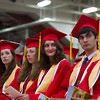 Seniors react to speeches at Masconomet Regional High School graduation, Friday, June 3rd, 2016. JARED CHARNEY/Photo.<br /> June 3, 2016