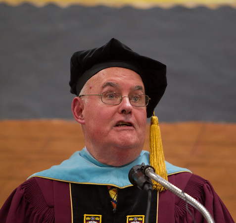 Dr. Bernard Creeden gives the guest address at Masconomet Regional High School graduation, Friday, June 3rd, 2016. JARED CHARNEY/Photo.<br /> June 3, 2016