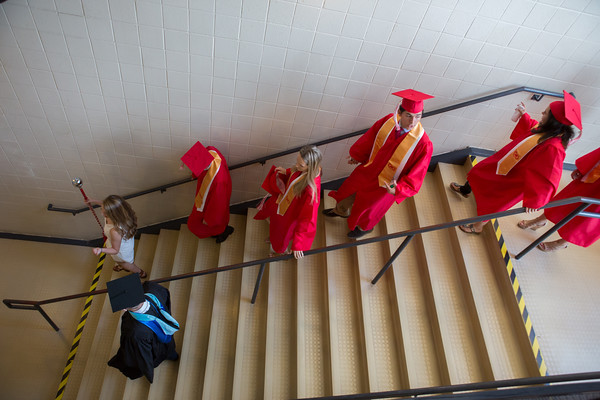 Seniors make their way to the Field House for ceremonies at Masconomet Regional High School graduation, Friday, June 3rd, 2016. JARED CHARNEY/Photo.<br /> June 3, 2016