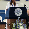 DAVID LE/Staff photo. Swampscott High School graduate and senior class president Zoe Petty delivers her address to her classmates on Sunday afternoon. 6/5/16.