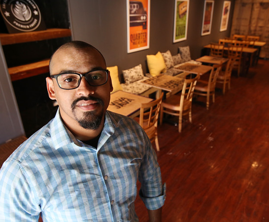 KEN YUSZKUS/Staff photo.  Pedro Soto of the new business The Coffee Experiment in Peabody.  06/30/16