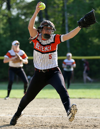 DAVID LE/Staff photo. Beverly relief pitcher Jackie Pia fires a pitch against Peabody. 5/25/16.