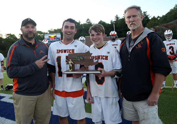 DAVID LE/Staff photo. Ipswich head coach Glenn Foster, junior captains Charlie Gillis and Kilian Morrissey, and assistant coach Peter Ginolfi. 6/10/16.