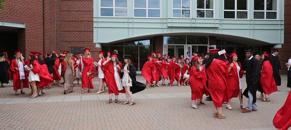 KEN YUSZKUS/Staff photo.   Graduates congregate outside Marblehead High School prior to the graduation.     06/12/16
