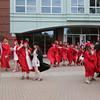 KEN YUSZKUS/Staff photo.   Graduates congregate outside Marblehead High School prior to the graduation.     06/12/16