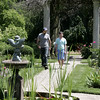 KEN YUSZKUS/Staff photo.    Michael Sampson, right, walks with buildings and grounds manager for the Danvers Historical Society Matthew Martin in the garden where Michael worked at the Glen Magna Estate in Danvers.       06/15/16