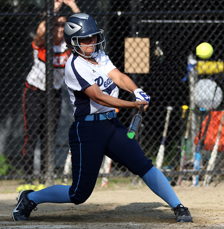 DAVID LE/Staff photo. Peabody's Alyssa Alperen launches the second of back-to-back homers for the Tanners against Beverly en route to an 11-1 victory and place in the state tournament. 5/25/16.