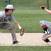 KEN YUSZKUS/Staff photo.     Beverly's Sean Hanlon tries to steal 2nd, but is stopped by Belmont's Steve Rizzuto during the Belmont at Beverly baseball state tournament game.     06/02/16