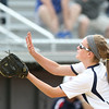 DAVID LE/Staff photo. Swampscott junior captain Hannah Leahy makes a running catch on a short popup down the third base line against Tewksbury. 6/12/16.