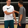 DAVID LE/Staff photo. Portland Trailblazers guard Pat Connaughton, left, shakes hands with St. John's Prep head basketball coach John Dullea, after the two caught up during Connaughton's basketball camp held at Danvers Indoor Sports on Tuesday afternoon. 6/28/16.