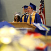 "DAVID LE/Staff photo. Danvers senior class Treasurer Samuel Montanari delivers part of the Class Officers' joint speech ""Qualities That Define Us"" at graduation on Saturday afternoon. 6/11/16."