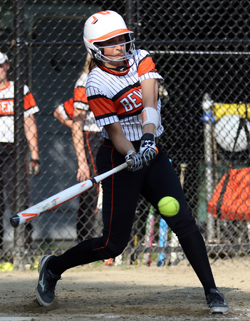 DAVID LE/Staff photo. Beverly senior Ally Cabral lines a sharp single off Peabody starting pitcher Tianna Dawe. 5/25/16.