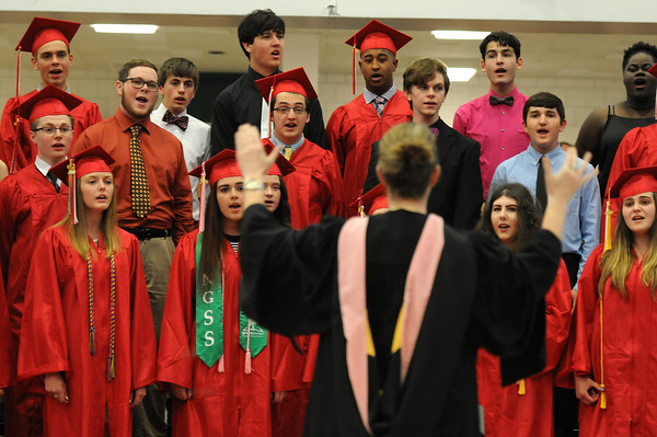 PAUL BILODEAU/Staff photo. The Choir during Salem High School's graduation ceremony in the high school's field house.